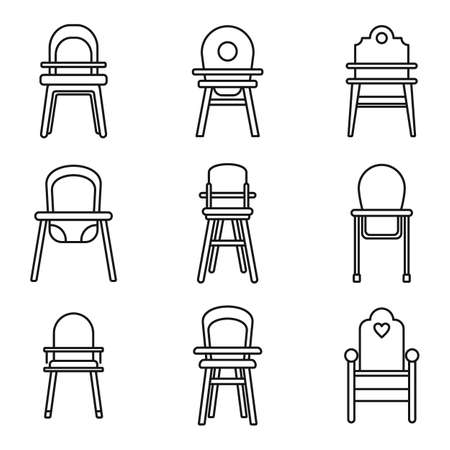 Dinner feeding chair icons set, outline style