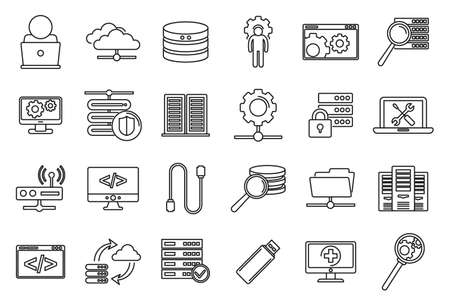 Company it administrator icons set, outline style