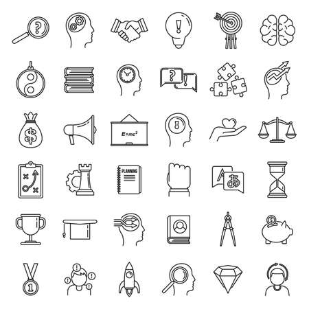 Modern life skills icons set, outline style