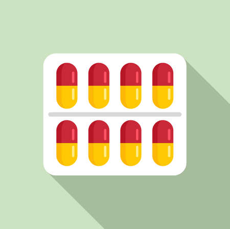 Measles pills pack icon, flat style