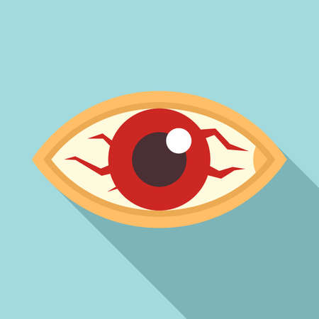 Measles red eye icon, flat style