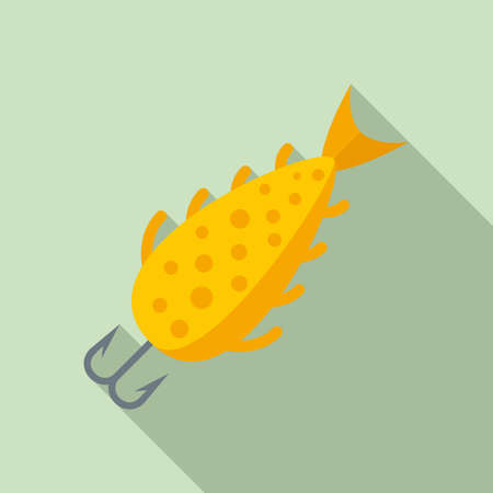 Fish bait catch icon, flat style