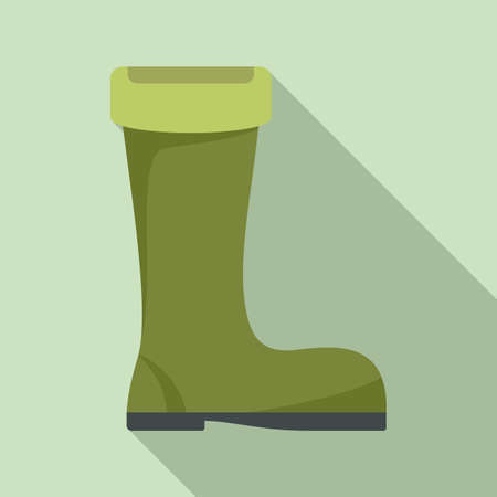 Fisherman green boot icon, flat style
