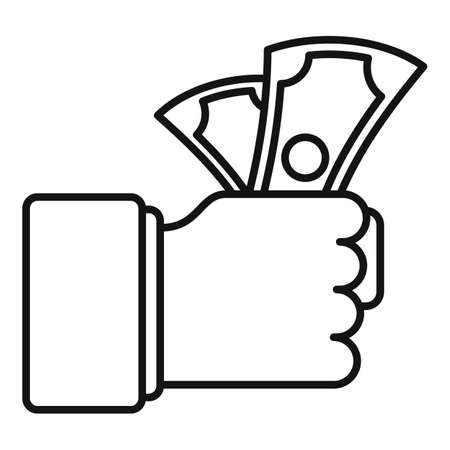 Hand money cash bribery icon, outline style