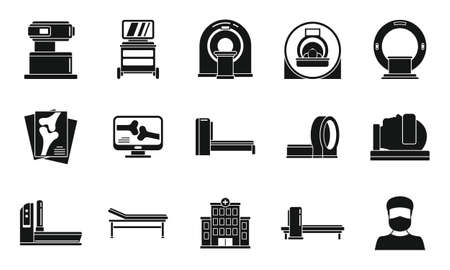 Medical magnetic resonance imaging icons set, simple style