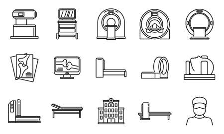 Mri scan icons set, outline style