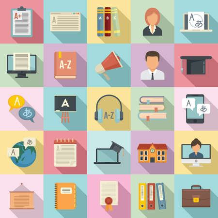 Foreign language teacher icons set, flat style Vector Illustration