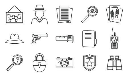 Police investigator icons set, outline style Illustration