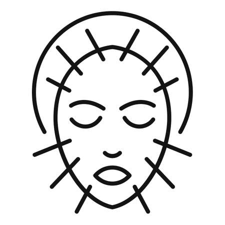 Face acupuncture icon, outline style