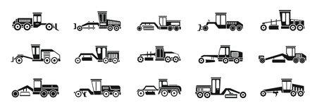 Grader machine truck icons set, simple style Vetores
