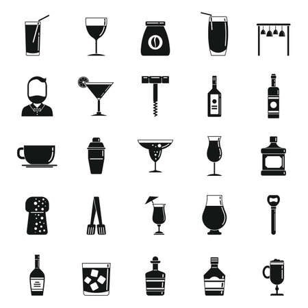 Bartender tools icons set, simple style
