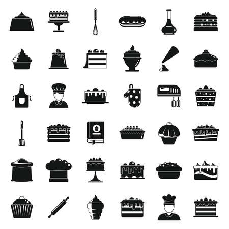 Confectioner baker icons set, simple style Vector Illustratie