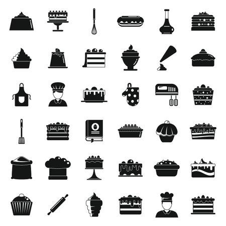 Confectioner baker icons set, simple style Vektoros illusztráció