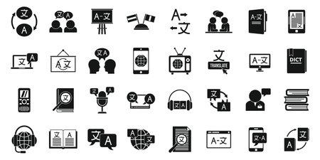 Translator icons set, simple style
