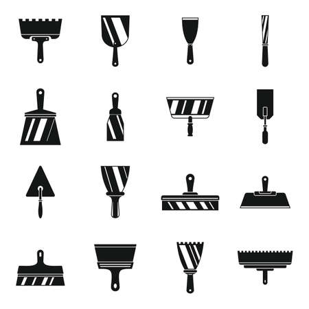 Putty knife tool icons set, simple style