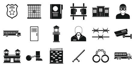 Prison arrest icons set, simple style 矢量图像