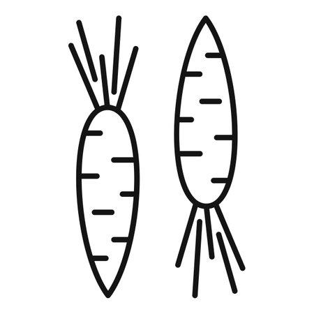 Fresh eco carrot icon, outline style Ilustracja