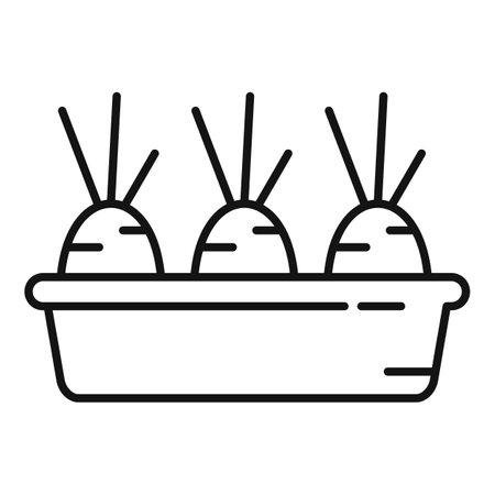 Garden pot carrot icon, outline style