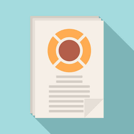 Sociology data paper icon, flat style