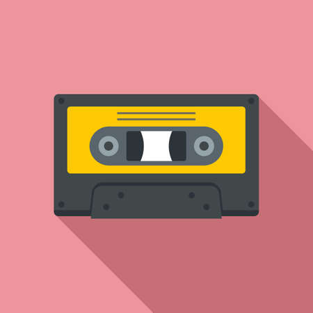 Music cassette icon, flat style