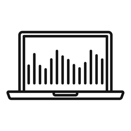 Laptop music equalizer icon, outline style