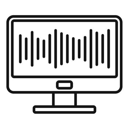 Monitor music equalizer icon, outline style