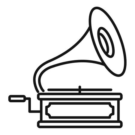 Gramophone icon, outline style