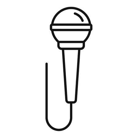 Music microphone icon, outline style