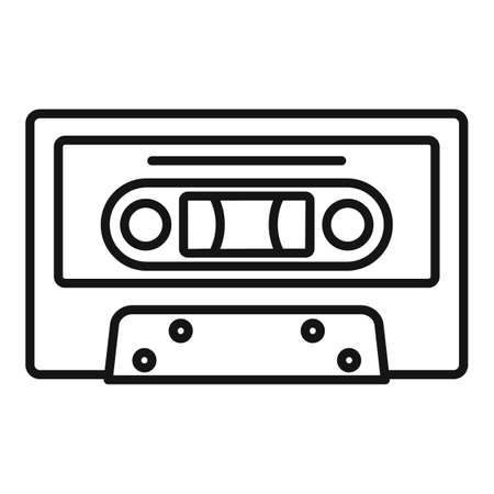 Music cassette icon, outline style