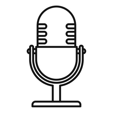 Studio microphone icon, outline style 向量圖像
