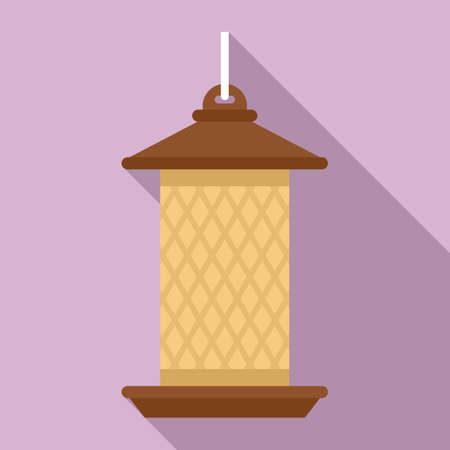 Cylinder bird feeders icon, flat style