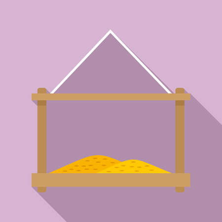 Grains bird feeders icon, flat style
