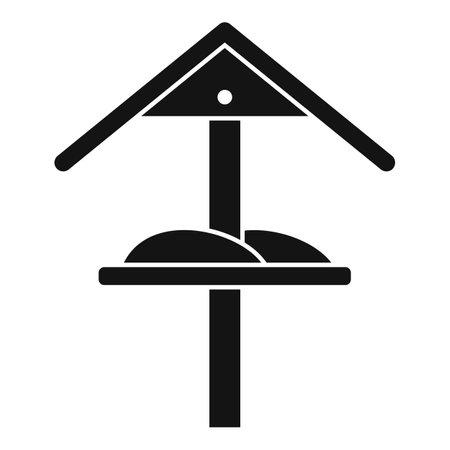 Winter bird feeders icon, simple style