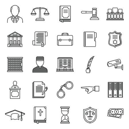 Public prosecutor icons set, outline style 向量圖像