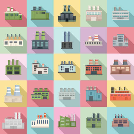 Recycle factory icons set, flat style
