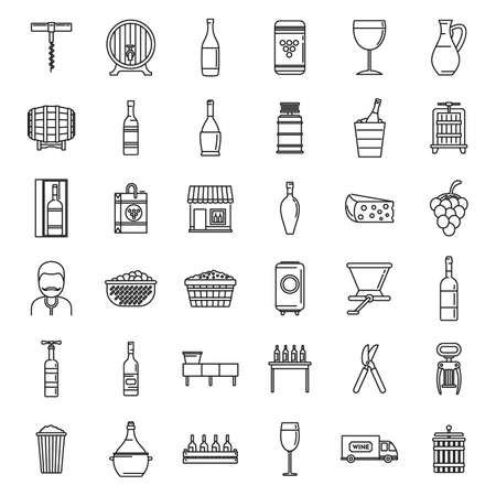 Modern winemaker icons set, outline style
