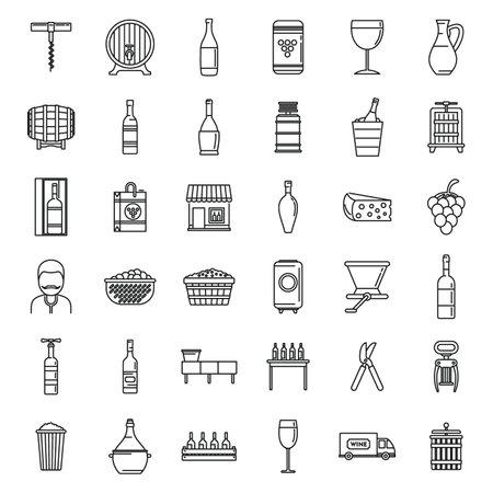 Modern winemaker icons set, outline style 矢量图片