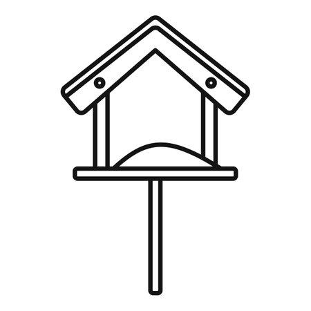 Wood bird feeders icon, outline style 向量圖像
