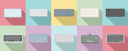 Keyboard icons set, flat style