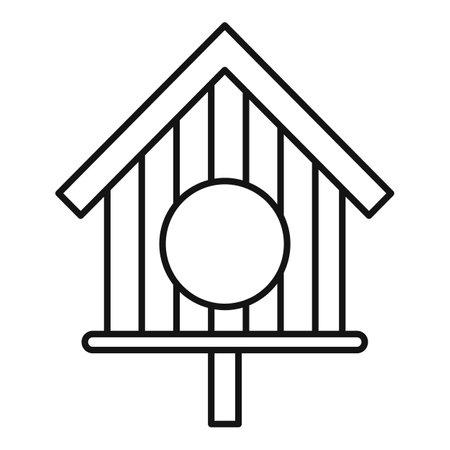 Wood round bird feeders icon, outline style