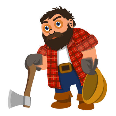 Lumberjack tired icon, cartoon style