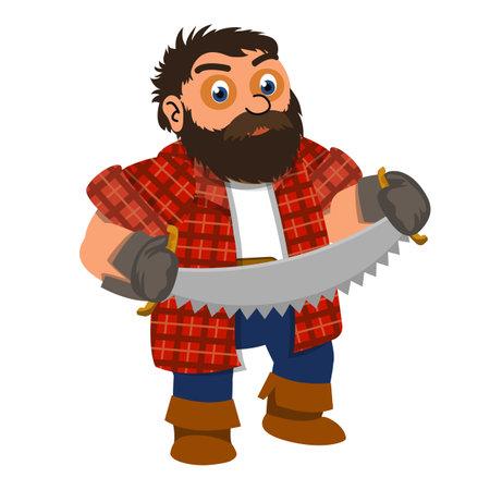 Lumberjack two hand saw icon, cartoon style