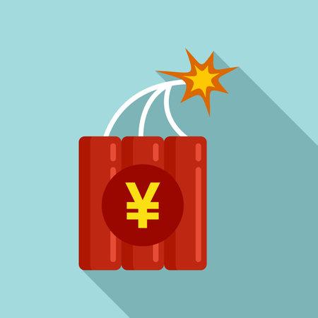 Trade war dynamite icon, flat style Ilustracja