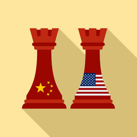 Trade war chess icon, flat style