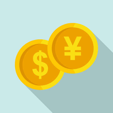 Gold coin trade war icon, flat style