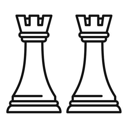 Trade war chess icon, outline style
