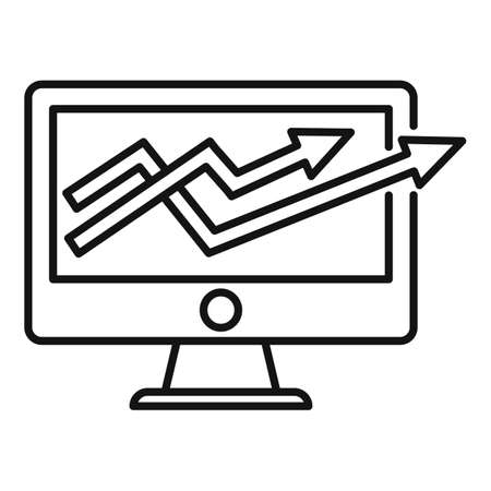 Trade war graph icon, outline style