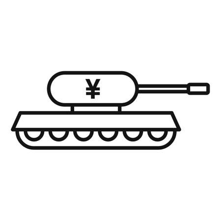 Trade war china tank icon, outline style