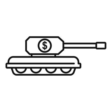 Trade war usa tank icon, outline style