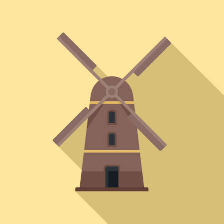 Sweden mill icon, flat style 向量圖像